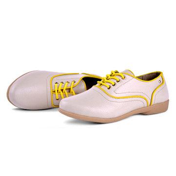 Кружево вверх мягкая кожа повседневные рабочие плоские ботинки бездельников круглый мыс