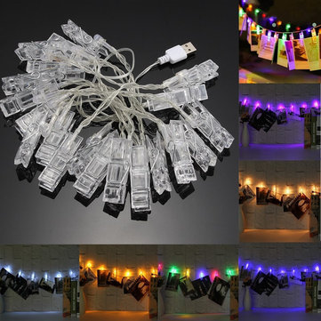 USB 2.2M 20LED Photo Peg Clip Shapes DIY Fairy String Light Xmas for Hanging Picture