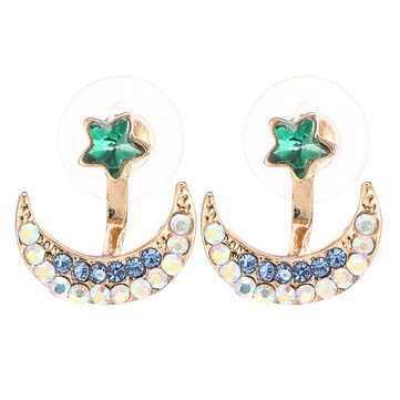 Moon Star Earrings Sweet Rhinestone Women Gift