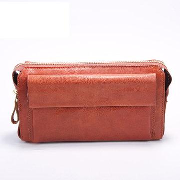Мужская подлинная кожа Длинный кошелек 6 слотов карты сцепления сумка Телефон сумка