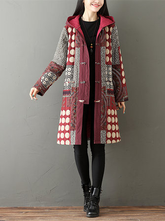 Gracila Ethnic Printed Plate Buckle Thicken Women Hooded Coats