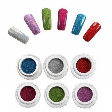 6 Colors Holographic Nail Art Laser Powder DIY Set Glitter Holo Chrome Pigments Powders