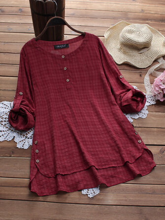 Women Plaid Print Side Buttons Adjustable Sleeve Irregular Hem Blouse
