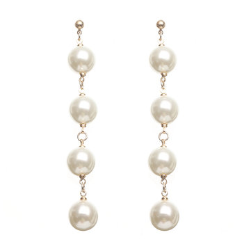 Elegant Tassel Ear Stud Long Pearl Pendant Earrings Women Jewelry