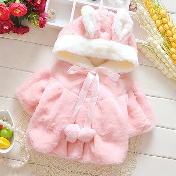Baby Kid Girl Rabbit Ears Bowknot Pure Color Hooded Cloak Coat
