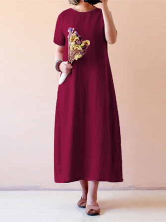 Celmia Women Vintage Short Sleeve Cotton Linen Loose Maxi Dress