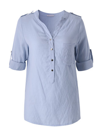 Casual Women Pure Color V Neck Button Party Shirt Blouse