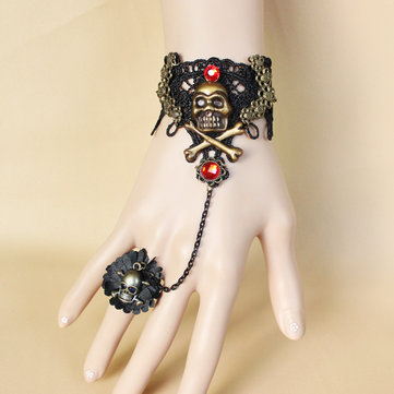 Halloween Gothic Retro Lace Vampire Pirate Skull Slave Bracelet Ring Jewelry Set for Women