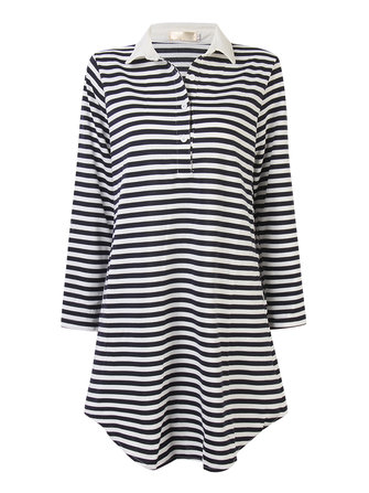 Women Sea-Striped Lapel Loose Long Sleeve Shirt Dress