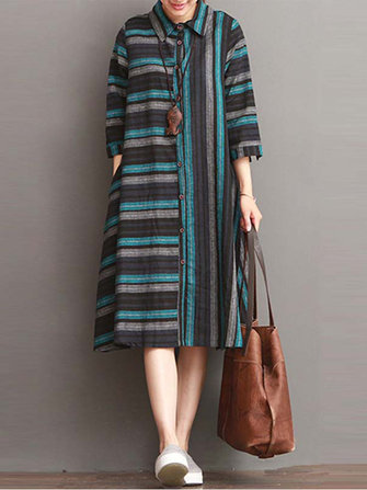 Casual Women 3/4 Sleeve Striped Lapel Button Down Shirt Dress