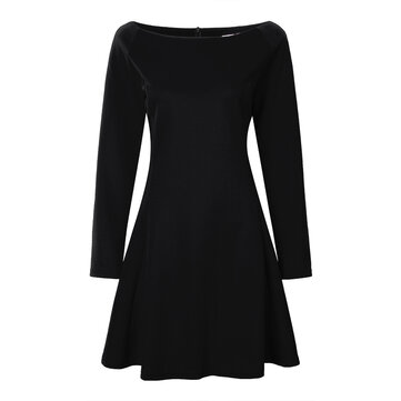 Women Boat Neck Long Sleeve Pure Color Slim Bodycon Dress