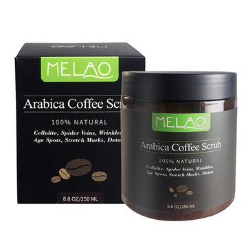 MELAO 100% Natural Arabica Coffee Body Scrub Exfoliating Anti-Cellulite Detox Stretch Marks Remove Wrinkles