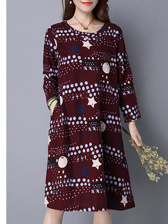 Ethnic Vintage Womens Long Sleeve Printed Mini Dress