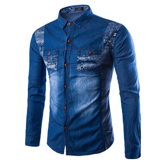 Long Sleeve Washed Denim Double Chest Pockets Button up Jeans Shirts for Men