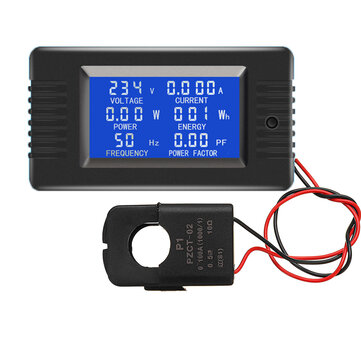 PZEM-022 Open and Close CT 100A AC Digital Display Power Monitor Meter Voltmeter Ammeter Frequency Current Voltage Factor Meter with Split CT