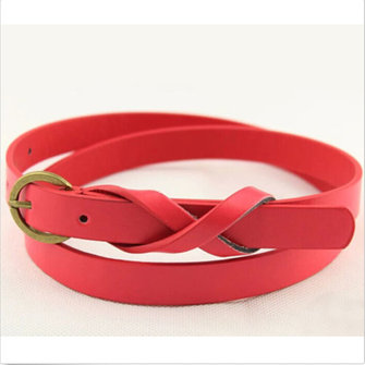 Women Girls Candy Color PU Leather Thin Skinny Waistband Belt Adjustable Strip