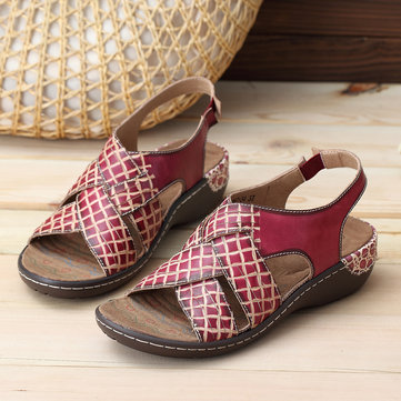 SOCOFY Genuine Leather Elastic Band Casual Soft Sandals