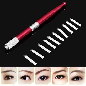 Permanent Eyebrow Lip Liner Pen with 10pcs Needles Microblading Blades Embroidery Tattoo Machine Set
