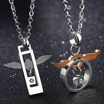 2 Pcs À La Mode En Acier Inoxydable Amour de Ange Couple Collier Cadeau pour Hommes Femmes