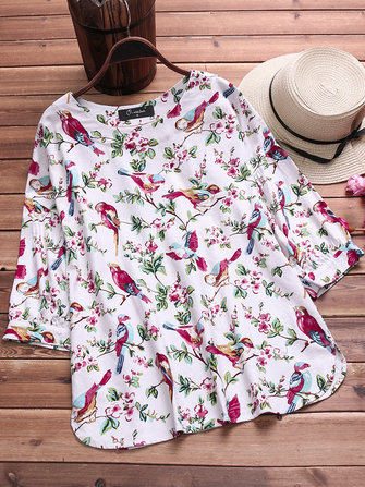 Women Vintage Floral Print O-neck Cotton Blouse