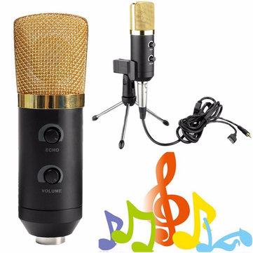 Micrófono usb negro con tapa anti viento espuma y soporte para el estudio de grabación
