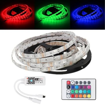 5M 5050 Waterproof RGB LED Strip Light+WiFi Controller Works With Alexa+24Keys Remote Control DC12V