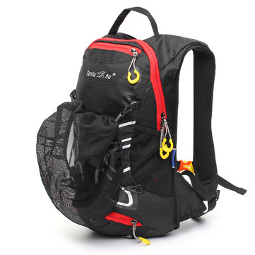 12L Cycling Bike Backpack Waterproof Shoulders Bag Rucksack W/ Helmet Net Safety Reflective Strips