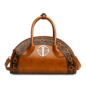 Women Leather National Retro Handbag Folk Elegant Crossbody Bag