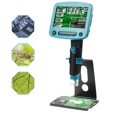 DM01 4.3 Inch LCD Screen HD 5.0MP 800X Portable USB Digital LCD Microscope Adjustable High Brightness 8 LEDs VGA Camera Video Microscopes Soldering Magnifier + Metal Stand