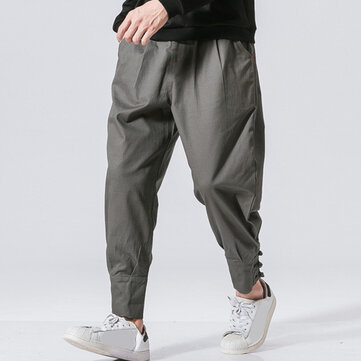 Men's National Retro Fit Cotton Zipper Fly Pure Color Jogger Casual Pants