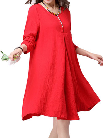 Casual Women Long Sleeve Cotton Irregular Loose Dress