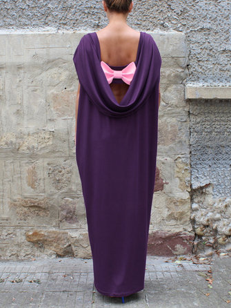 Elegant Women Batwing Sleeve Bowknot Back Maxi Dress