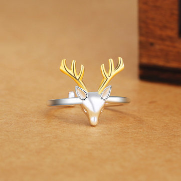 Trendy Silver Plated Deer Elk Open Simple Finger Silver Ring for Women