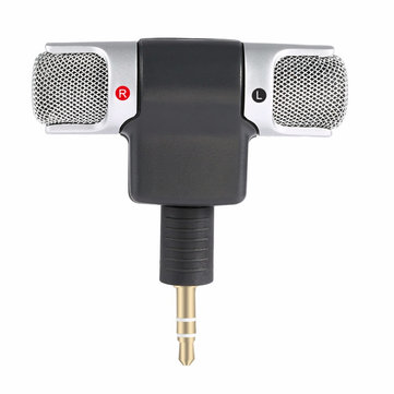 Portable Mini Stereo HD Broadcast Mic Recording Microphone with 3.5mm Jack for Mobile Phone PC