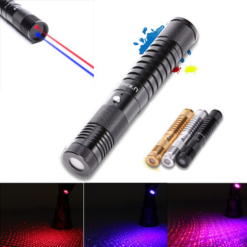 U KING ZQ-J34 650/450nm Red/Blue Two colors Laser Pointer Flashlight High Power Laser Pen