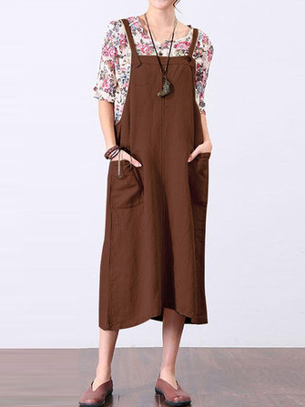 Sleeveless Strappy Pockets Loose Cotton Long Dress