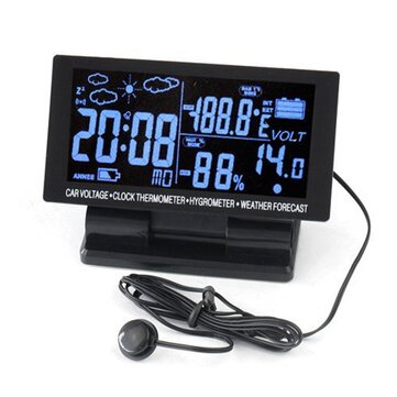EC60 4.5 inch LED Display 12V/24V Car Thermometer+Voltmeter+Hygrometer+Weather Forecast+Clock