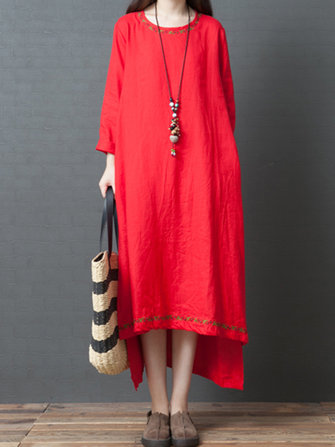 Vintage Women Linen Loose Pure Color Long Sleeve Dress