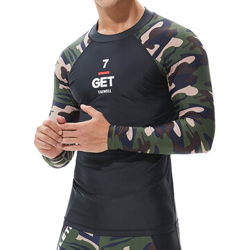 Men's Swimwear Camouflage Long Sleeve Swimsuit