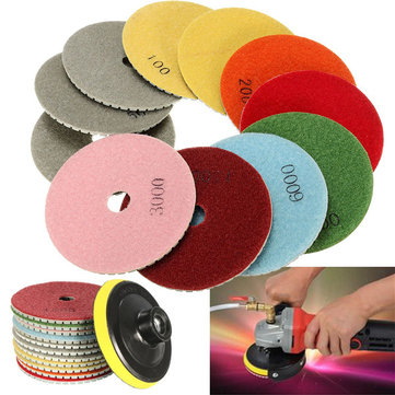 12pcs 4 Inch 50-6000 Grit Diamond Polishing Pads Set for Granite Concrete Marble