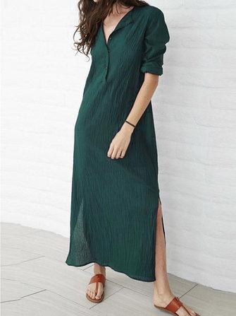 Plus Size V-neck Long Sleeve Solid Color Side Split Maxi Dress