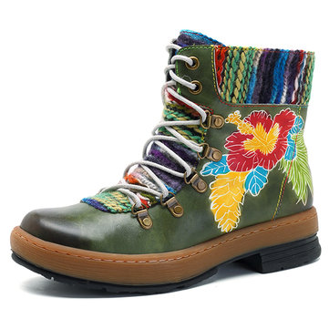 SOCOFY Handmade Pattern Ankle Flat Leather Boots