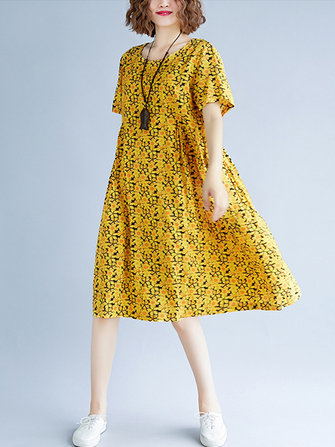 Cotton Short Sleeve Knee-Length Floral Dress