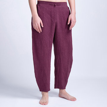 Mens Vintage Ethnic Style Casual Comfy Cotton Pants Solid Color Loose Pants