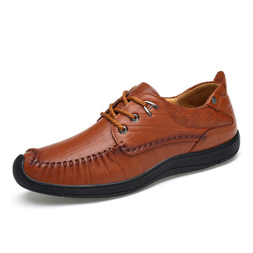 Men Comfortable Geniune Leather Anti Collision Toe Oxfords
