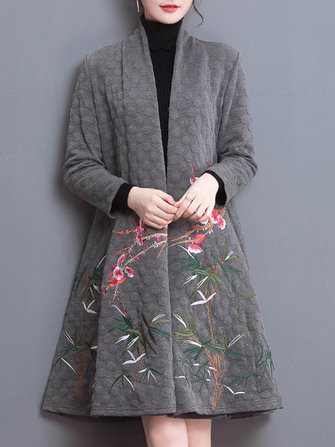 Vintage Long Sleeve Embroidery Wave Point Coat