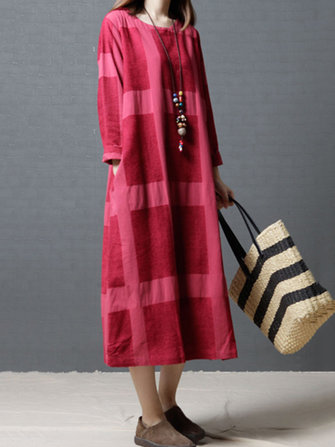 Casual Women Long Sleeve Plaid Printed Scoop Neck Maxi Dress