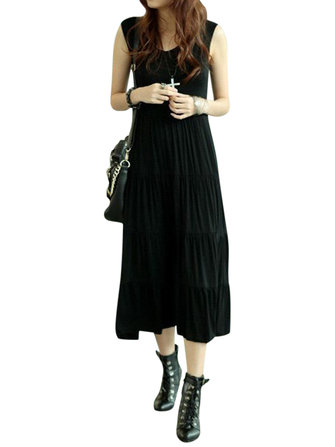 Casual Women Pleated Sleeveless Pure Color O-Neck Modal Vest Dresses