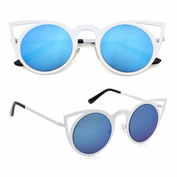 Women Cat Eye Mirror Colorful Lens Sun Glassess Vintage Eyewear