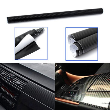 50x127cm Black 3D Twill-Weave Carbon Fiber Vinyl Film Wrap Sheet